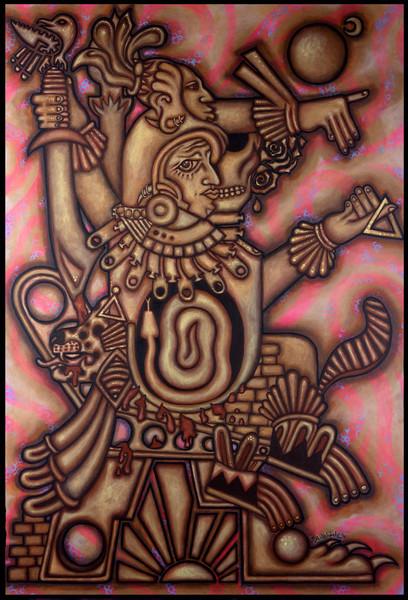 mesoamerican art acrylic painting