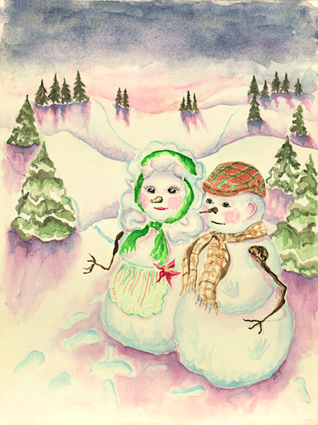 Snowman in the Gloaming print by Judith Spielmacher.