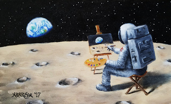 "Astronaut painting ""outside,"" on the moon, aka en plein air(less)"