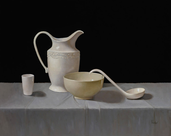 White Pitcher with Bowl and Ladle