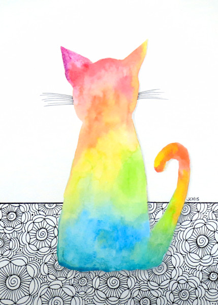 Tie Dye Cat With Flowers Art For Sale