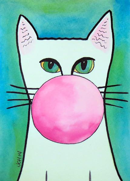 Bubble Gum Cat On Blue Art For Sale