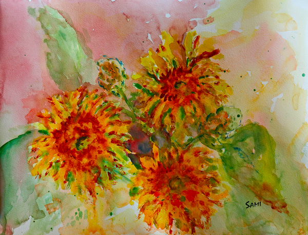 """""""Sunflower Study Painting for Sale as Fine Art"""""""