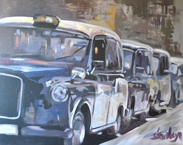London Black Taxi Cab Fine Art Print by Steph Fonteyn