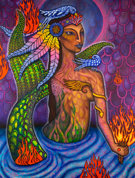 native naga mermaid art mystic oil painting