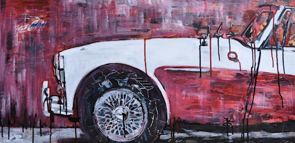 Austin Healey Original Mixed Media Painting by Steph Fonteyn