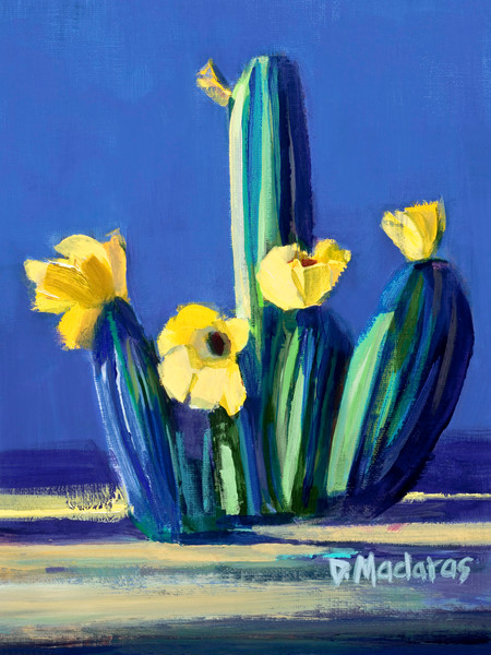 Floral Cactus Painting | Tucson Gallery | Bright Blue Cacti