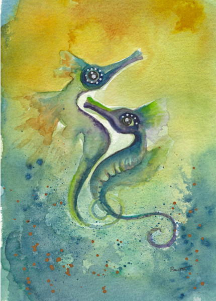 Two starry-eyed seahorse lovers watercolor at boudreau-art.com