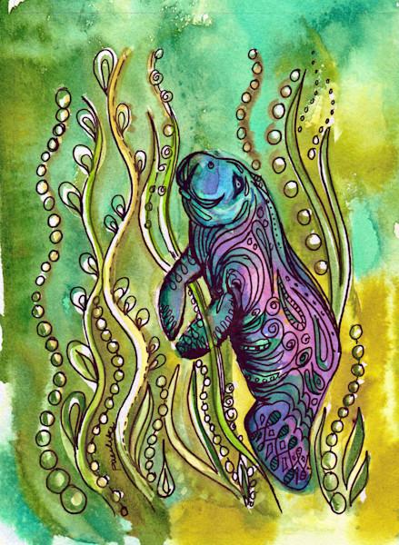 Funky Purple Manatee in Kelp