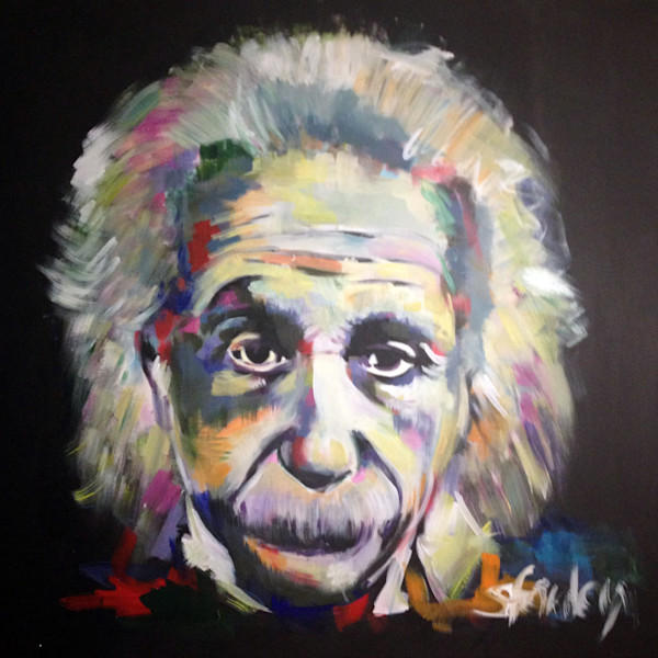 Einstein Original Acrylic Painting by Steph Fonteyn