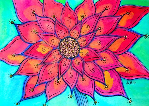 Funky Poinsettia Flower Art For Sale