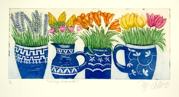 blue mugs with spring flowers, an aquatint etching on copper, multi colored by printmaker Mariann Johansen-Ellis, art, paintings