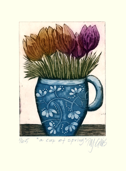 limited edition aquatint etching with spring flowers posy in a blue mug by Printmaker Mariann Johansen-Ellis, art, paintings