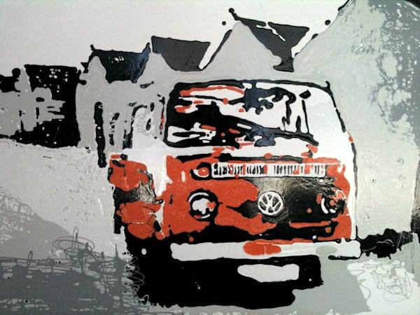 VW Camper Van Original Painting by Steph Fonteyn