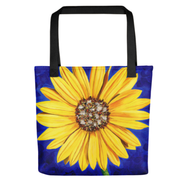 Stylish, colorful tote bags with original artwork of Sassy Sunflower by Mary Anne Hjelmfelt printed on them.