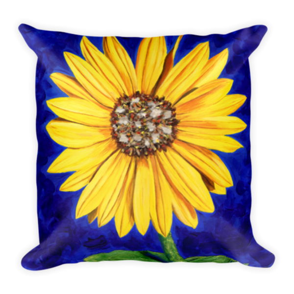 Colorful, soft pillow printed with original artwork by Mary Anne Hjelmfelt.