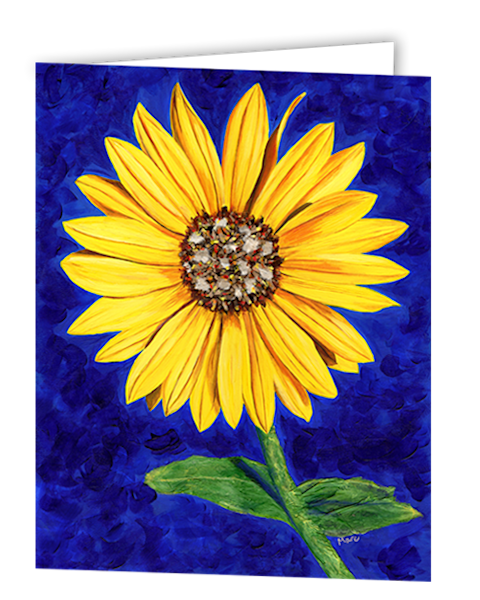 Uniquely made greeting cards in an 8 pack set printed with original artwork of Sassy Sunflower by Mary Anne Hjelmfelt