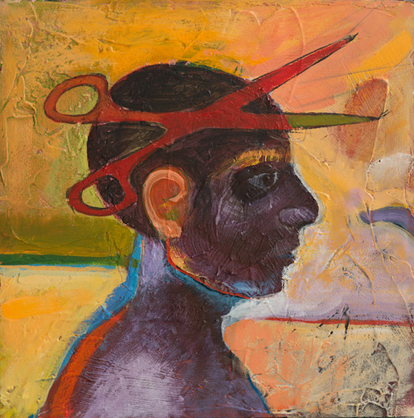 Shop for original paintings like Edwina Scissor-Head, an acrylic on canvas piece by Max Gore, at Matt McLeod Fine Art Gallery