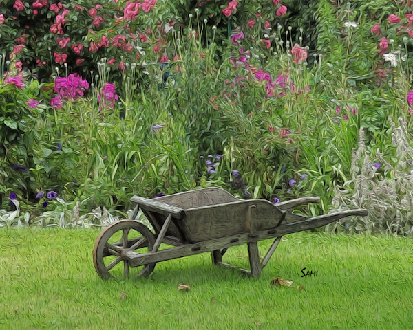 Monet's Wheelbarrow - France art painting for sale