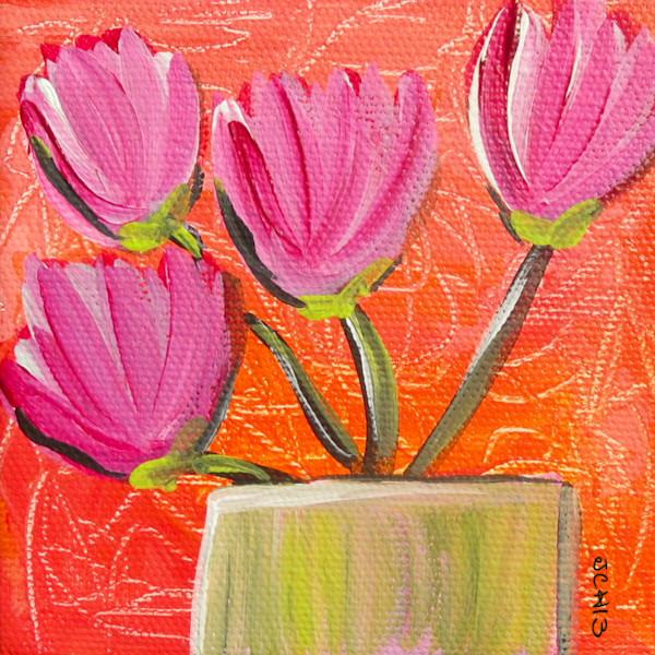 Pink Tulips On Orange Flower Art For Sale