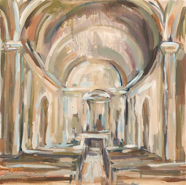 Original 12x12 Square Architecture Oil Painting