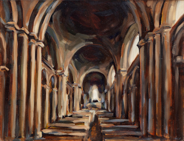 Original Romanesque Architecture Painting by Michelle Arnold Paine