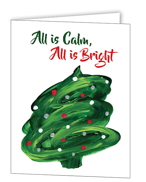 Uniquely made greeting cards in an 8 pack set printed with original artwork of Christmas Tree Swirl by Mary Anne Hjelmfelt