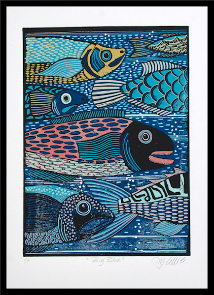 Fish original linocut. Printmaking with fish in bright colors. Tropical fish print. art, painting, printmaker Mariann Johansen-Ellis