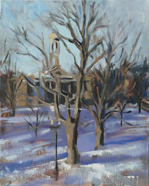 Original Snowy Common Oil Painting 16x20