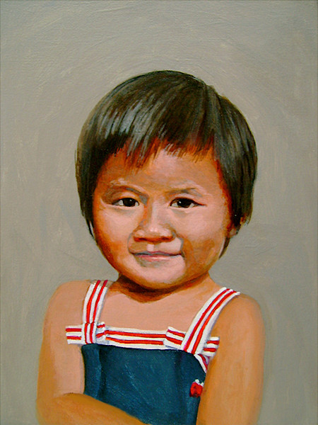 Small acrylic portraits of childhood