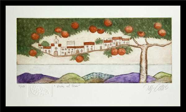 Orange tree in a landscape with sea views, Andalucia, an original print, aquatint etching by Mariann Johansen-Ellis, art, paintings