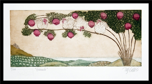 pomegranate tree and chickens, hens, an aquatint etching by printmaker Mariann Johansen-Ellis in red and green, limited edition art, paintings