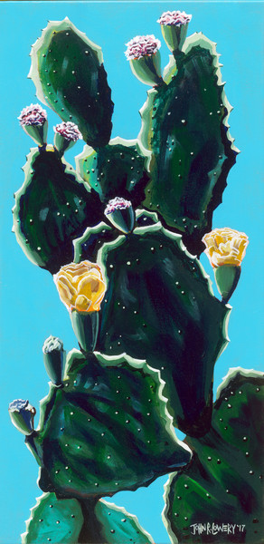 Colorful original painting of a Texas cactus by John R. Lowery, available as art prints.