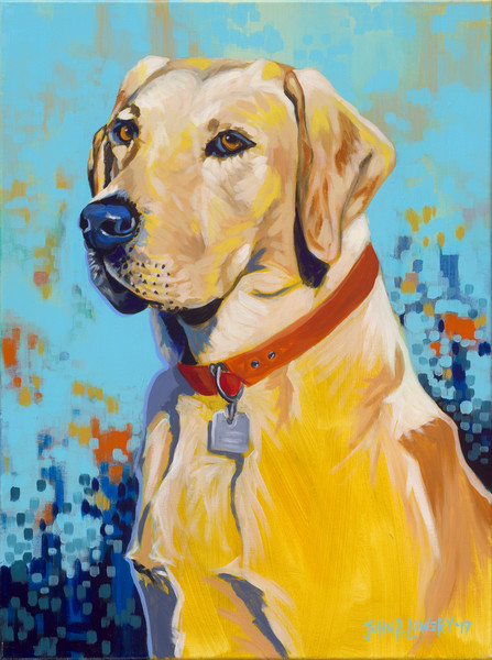 Colorful, modern original painting of a labrador retriever dog, for sale as art prints.