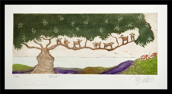olive trees in Andalucia, goats on the branches and a mediterranean seaview, an aquatint copperplate etching by printmaker Mariann Johansen-Ellis, art, paintings