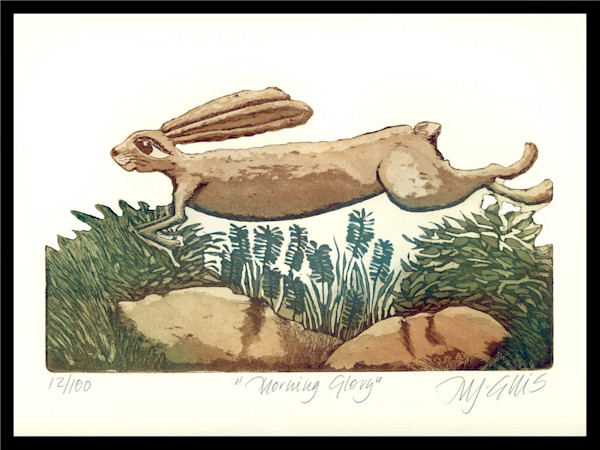 hare and nature in this aquatint etching by printmaker Mariann Johansen-Ellis, her inspiration comes mainly from nature, limited edition art print, paintings