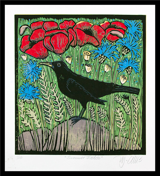 blackbird in a poppy field with cornflowers, a summer landscape linocut by Mariann Johansen-Ellis, art , paintings