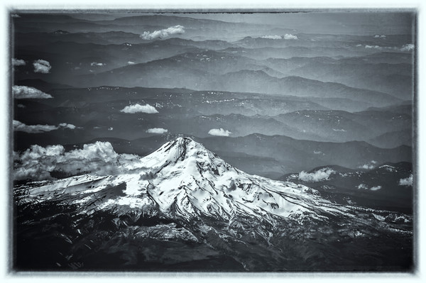 Mount Hood Aerial View b&w