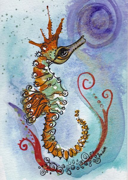 Orange Crown Seahorse 5x7
