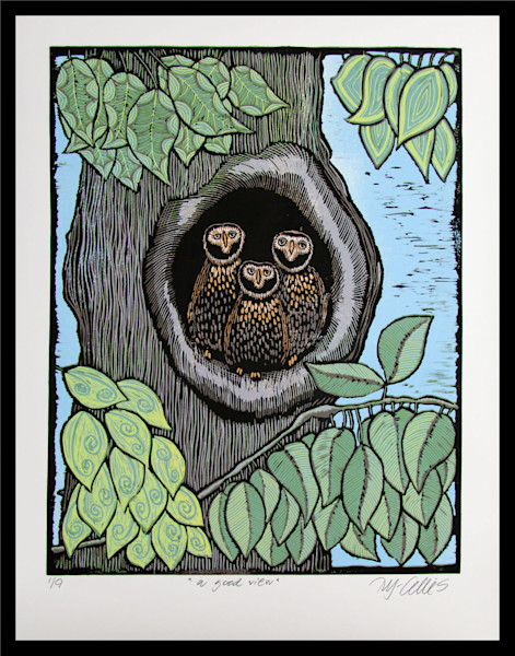 a threesome of owls in a big old tree, hidden from view by leaves and greenery, an original linocut reduction by printmaker Mariann Johansen-Ellis, art, paintings