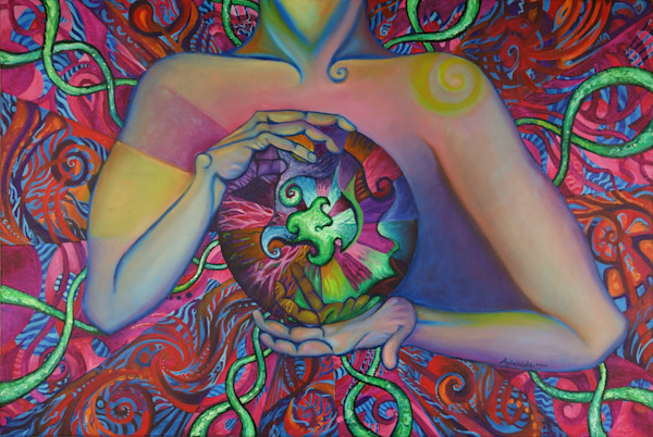 Chi energy in hands painting