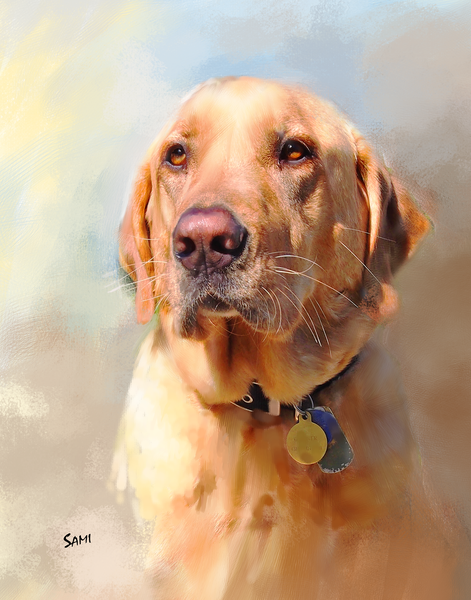 Gunner - A White Lab Art Painting for Sale