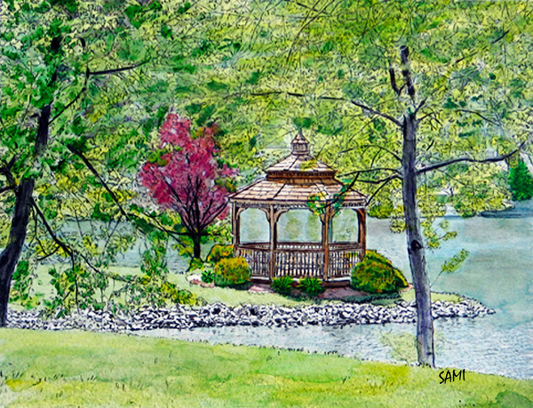 Willowdale Gazebo - Ohio art painting for sale