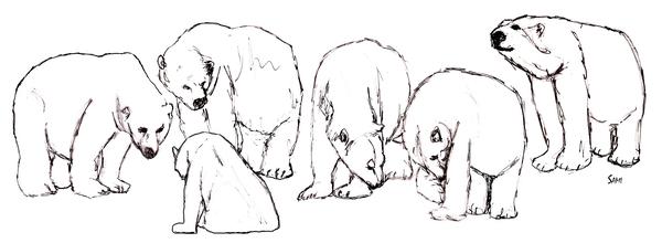 Sketchy Polar Bears Art Painting