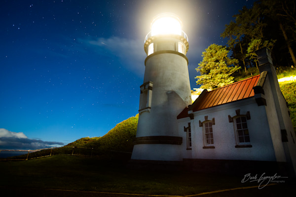Heceta head lighthouse at night photo for sale by Barb Gonzalez Photography