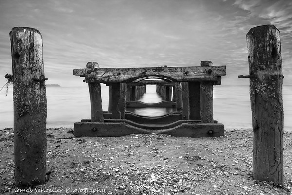 Old piers by the sea Black and white fine art prints/Walnut Beach Connecticut coast