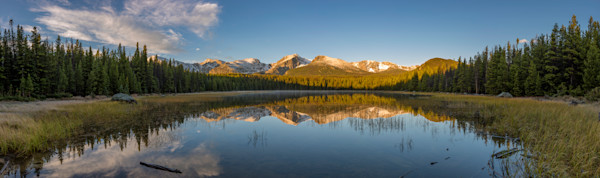 Sunrise Panoramic Photo of Bierstadt Lake Rocky Mountain National Park