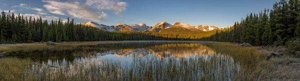 Sunrise Panoramic Photo of Bierstadt Lake - Duck Crosses Still Water Causing Ripples
