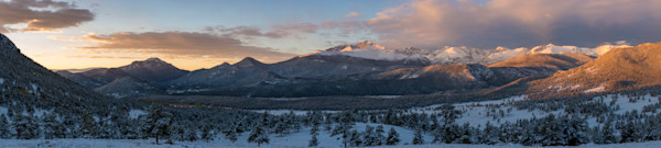 Wide Panorama Photo of Snow Covered Longs Peak & Beaver Meadows at Sunrise