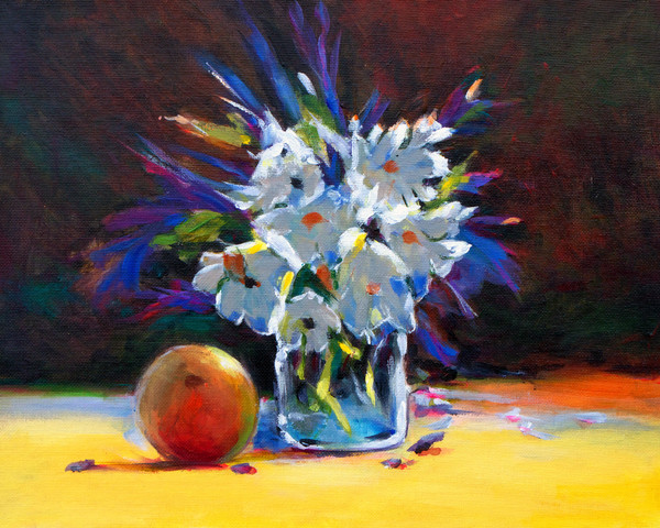 Mango and Flowers Still Life